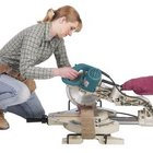 The chop saw rotates the cutting axis of the saw, eliminating the need for a miter box.