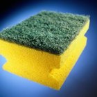 This two-sided sponge has a nylon scrubber.