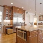 The kitchen needs variety in lighting styles.