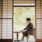 Shoji screens may be used between the living room and patio.