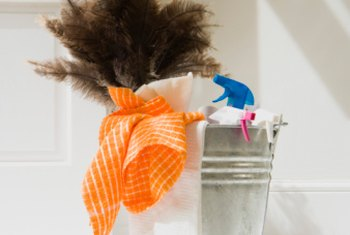Get your supplies together to start your house cleaning business.