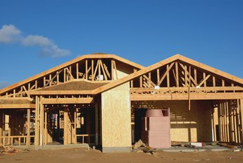 Insulation is installed in homes during construction.