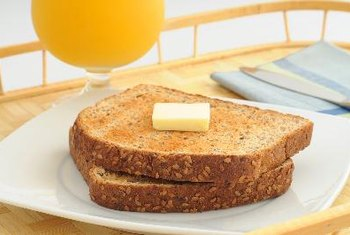Whole-grain foods, including wheat bread, are high in fiber.