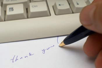 A thank-you note is an effective way to let the recipient know you appreciate her.