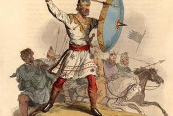 An Anglo-Saxon warrior chief leads his troops into battle.