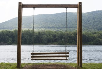 The swing set can fit up to two individual swings or one 5-foot swing that seats two people.