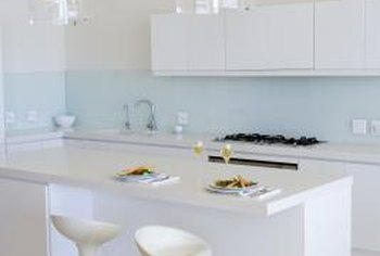Generate a fresh, modern look for your kitchen with white laminate counters.