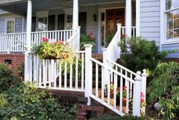 Colorful shades can help dress up a plain front porch and exterior.