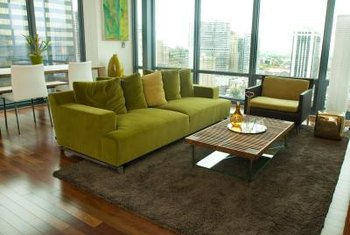 Use an area rug to section off a sitting area in a large room.