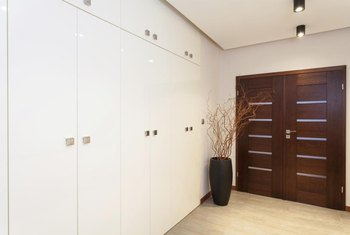 Linear elements are a common design feature of modern wood doors.