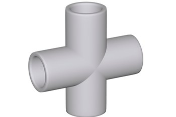Fittings such as crosses simplify the assembly of PVC pipes into a structure.
