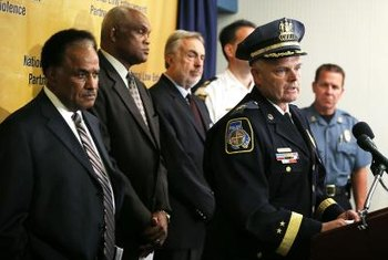 The police chief of Baltimore, MD, James Johnson, speaks at a conference on gun violence.