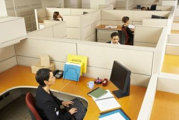 Cubicle walls separate employees from each other.