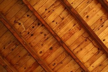 An oil-based wood stain is ideal for ceilings due to the drying time.