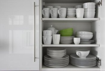Neat stacks of dishes save cabinet space.