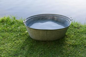 Galvanized tubs hold up to moisture for a long time.