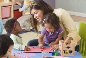 Preschool teachers prepare young children for kindergarten.