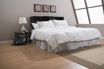 Hardwood floors complement this loft style bedroom.