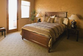 Two-color bedroom decor balances restfulness with visual variety.