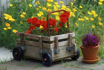 Use an old wagon for a creative flower planter.