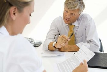 A supervisor usually reviews performance appraisal ratings in a meeting with an employee.