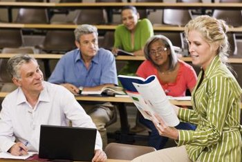 Professors in graduate schools may interact with students in smaller classes.