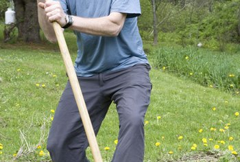 Use hand tools such as spades and garden forks to cut sod by hand.