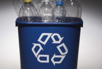 Recycling bins may be color-coded to help you sort your recyclables.