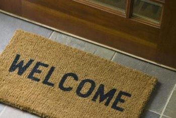 Turn a plain coir doormat into one that pops with personality.