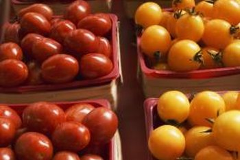 Yellow tomatoes provide visual interest and a bright contrast to red tomatoes.