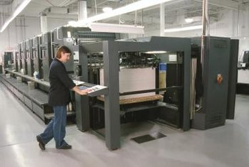 Sheet-fed presses can include multiple ink towers for process color output with added spot colors.