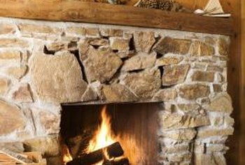 Use various types of twigs to decorate around your rustic fireplace.