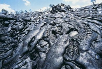 Hardened lava is processed into lava rocks.