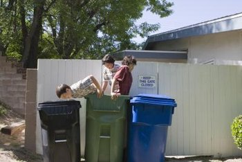 Teach your children how to properly use the recycle, trash and yard waste bins.