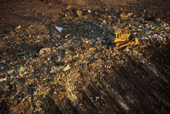 Landfill sites spread over many acres.
