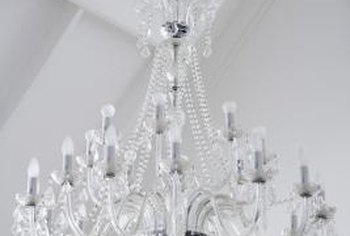 A crystal chandelier adds a touch of elegance to any home.