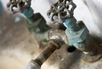 A corroded utility sink faucet can leak, and that wastes water.