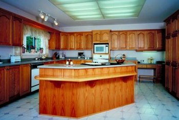 Linoleum is a good choice for kitchens because it's easy to clean.