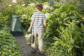 Collect yard waste in a compost bin before building a fast-composting pile.