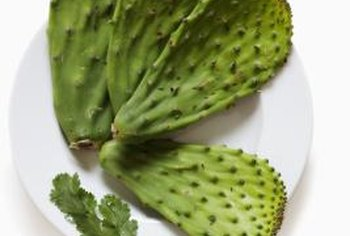 Nopales are edible and taste similar to green beans.