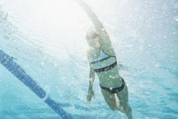 Five or six long underwater strokes can take you about 100 feet.