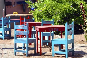 Exterior enamel paint provides a durable finish on outdoor furniture.