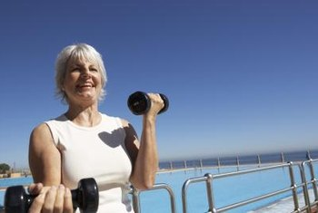 Seniors use dumbells to increase bone density.