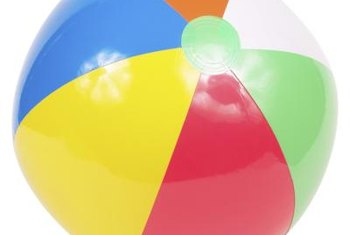 A beach ball illustrates the shape of stripes on a round object.