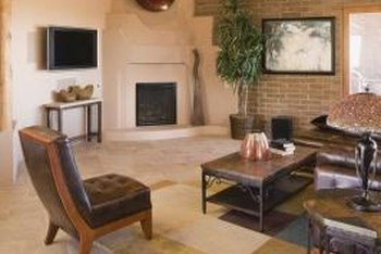A corner fireplace becomes an instant focal point with the right furniture and accessories.