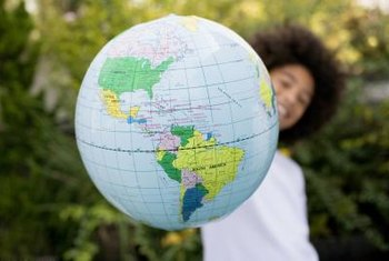 Learning how to use a globe is a social studies skill taught in elementary school.