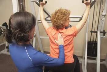 Exercise physiologists use fitness equipment to aid their clients