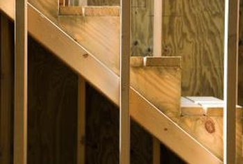 Diagonal stringers support horizontal stair treads.