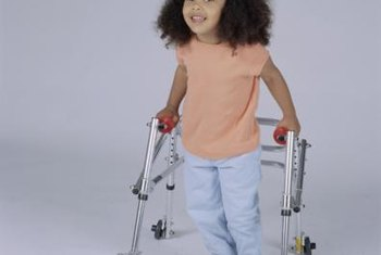 Wheeled walkers help children with CP walk independently.