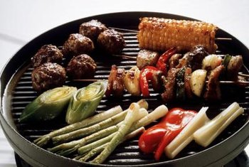 Grill lean meat and vegetables for a low-calorie dinner.